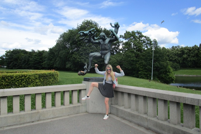 Me posing with a sculpture in the Vigeland sculpture park