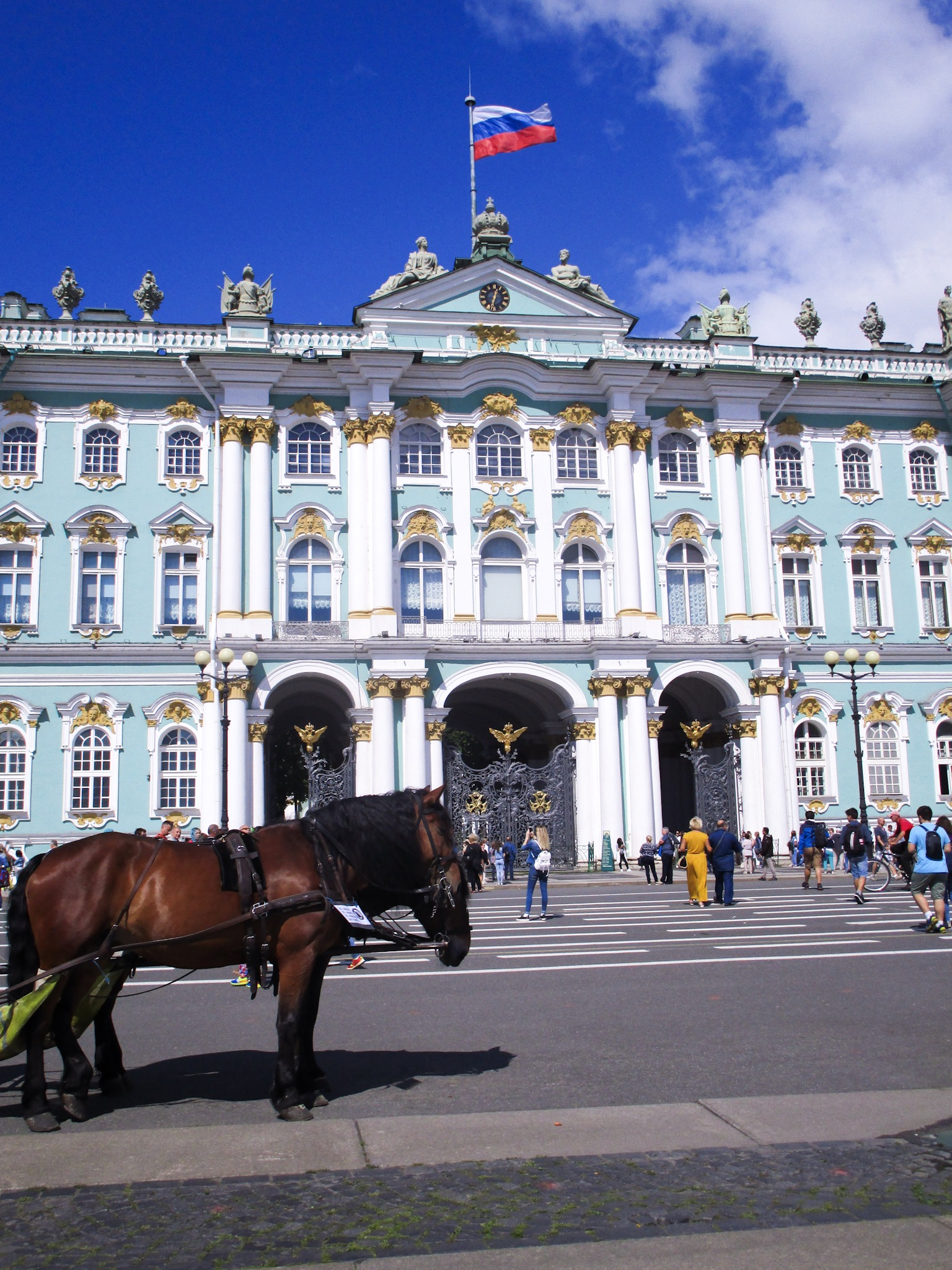 Horses in front of the Hermitage