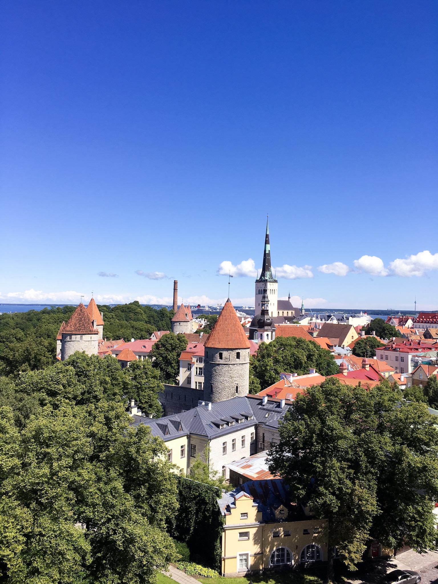 Blue skies over old town of Tallinn, Estonia