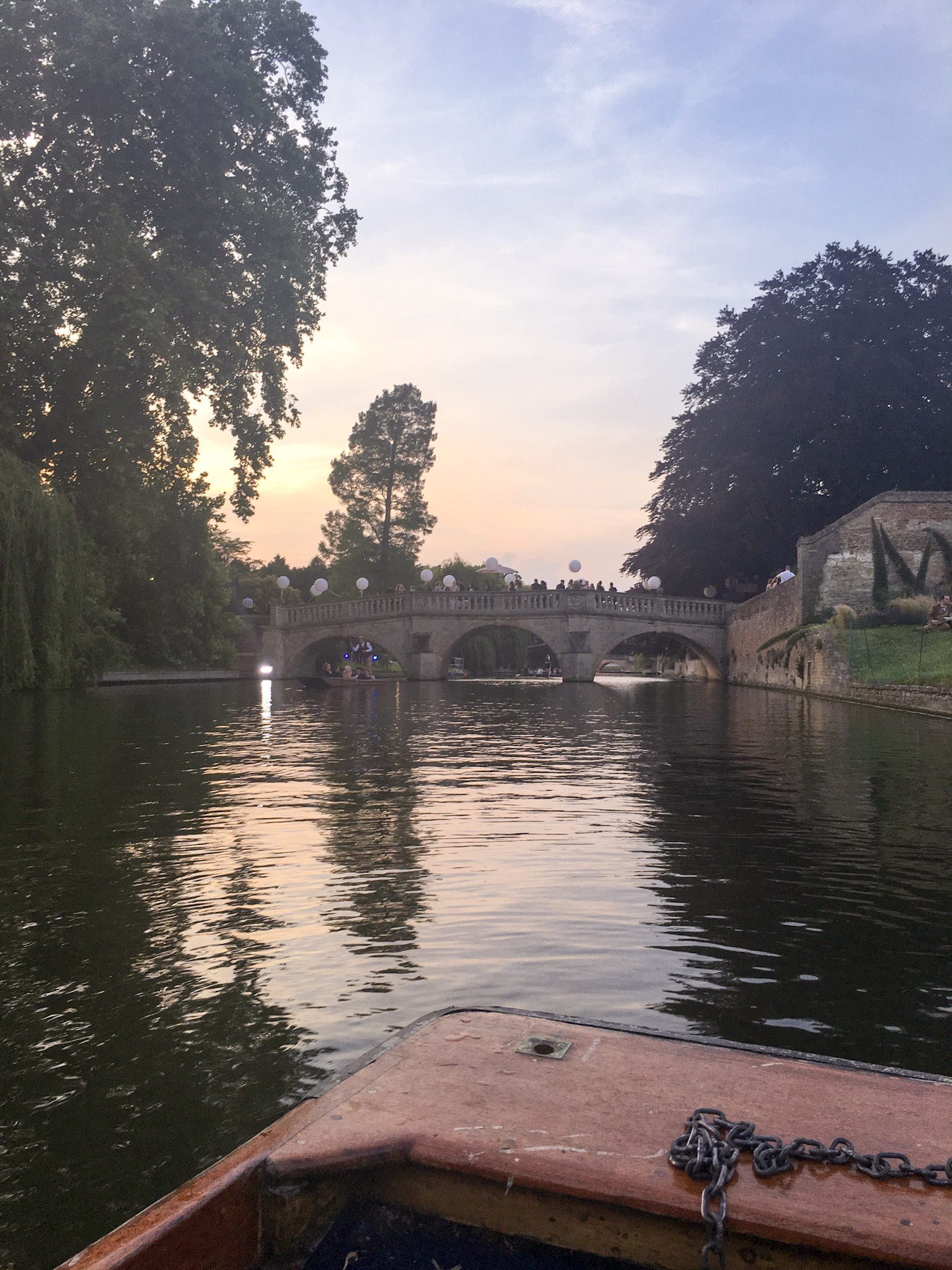 Sun setting over the river Cam in Cambridge, ready for the May ball