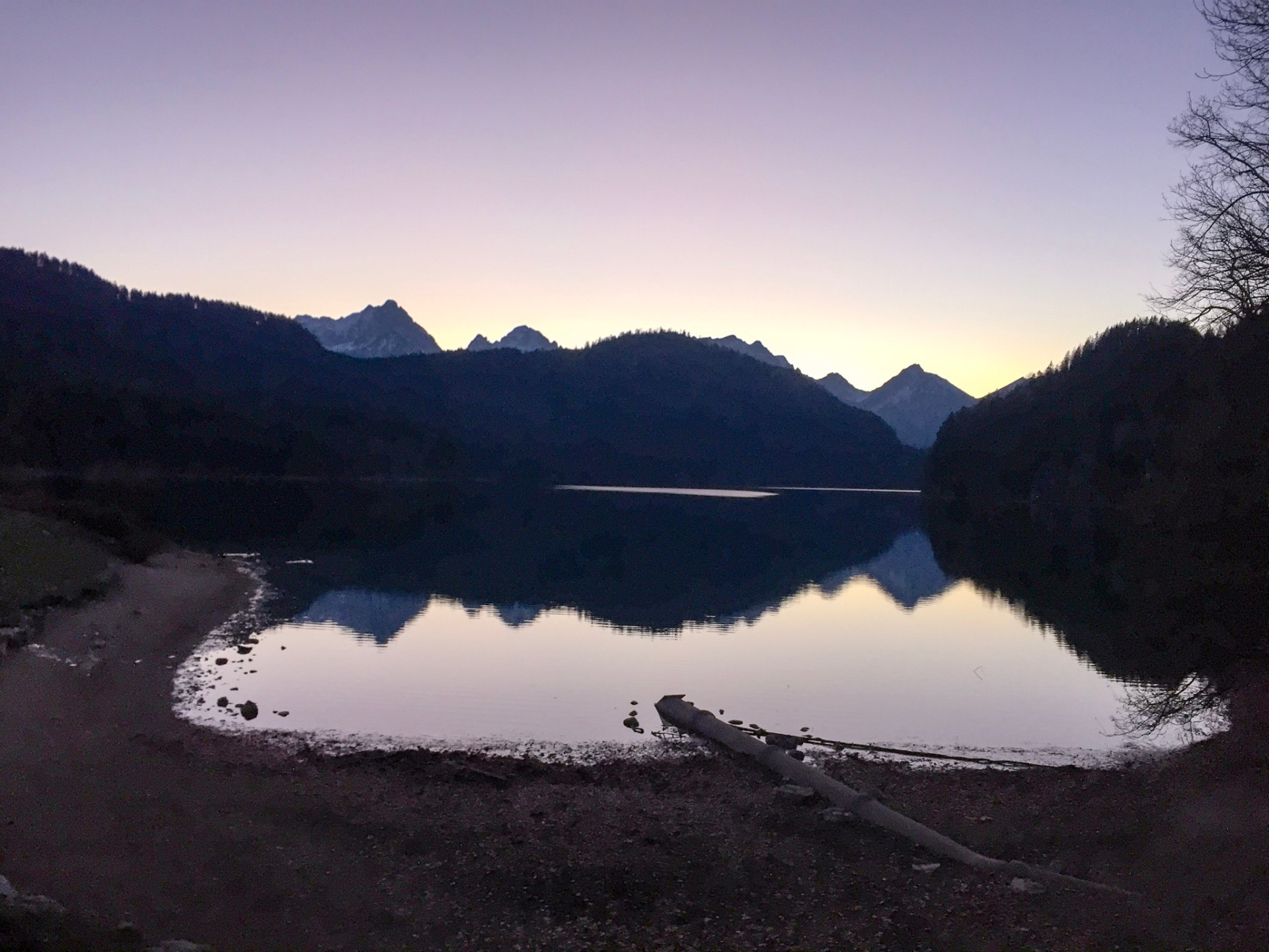 Sunset over a lake in Bavaria