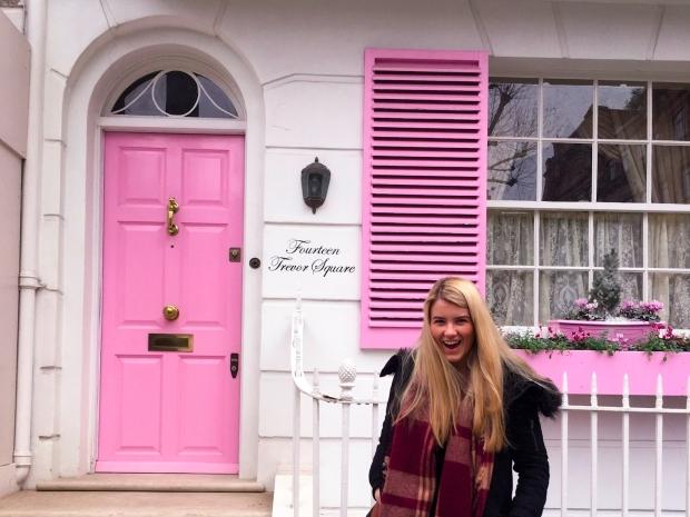 Bright pink door in London