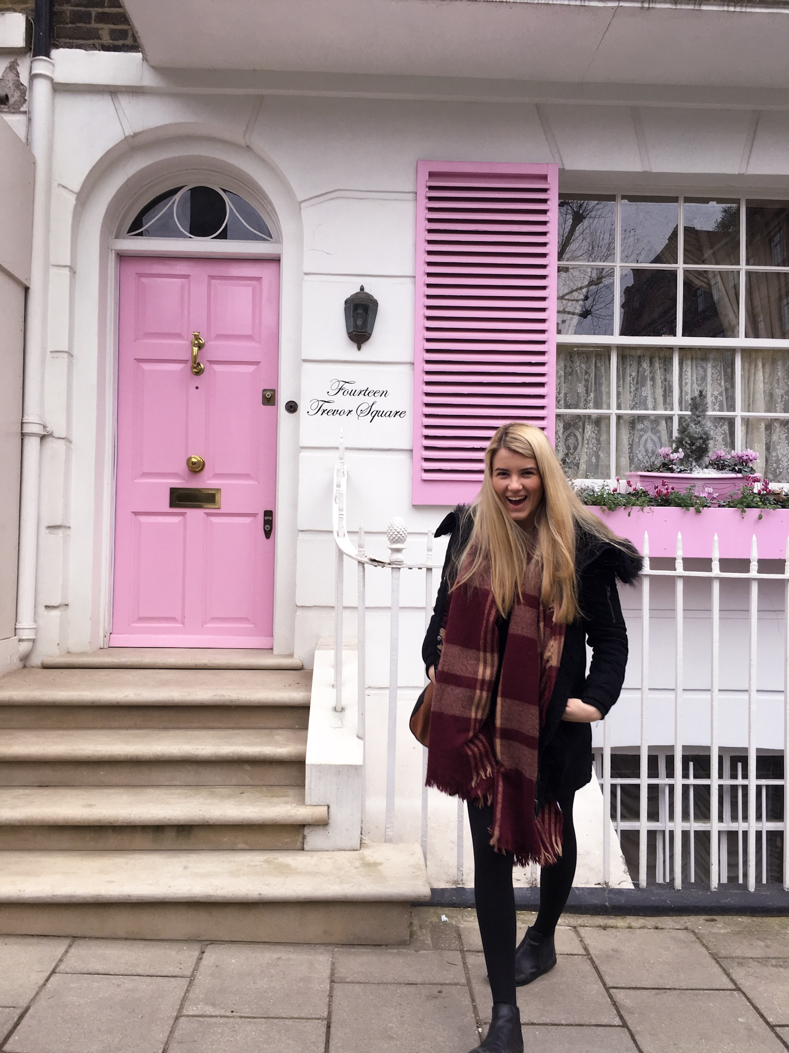 Bright pink door in London