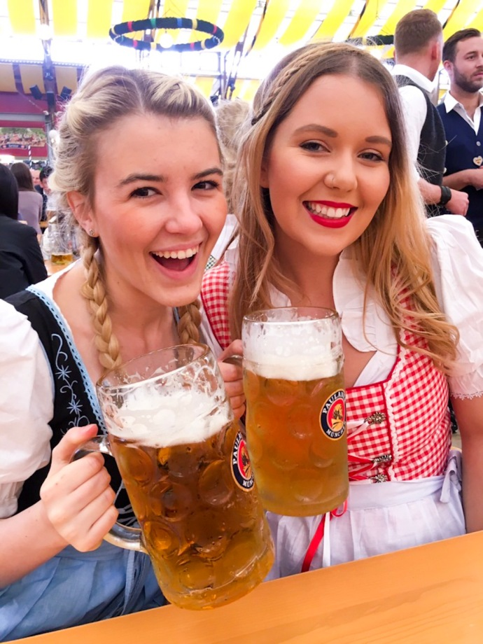 Inside the Paulaner beer tent at Oktoberfest