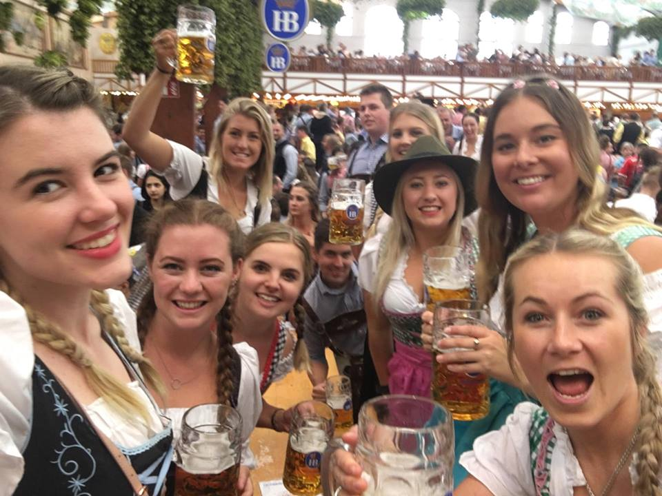 Aussies and kiwis in the Hofbrau beer tent at Oktoberfest, Munich