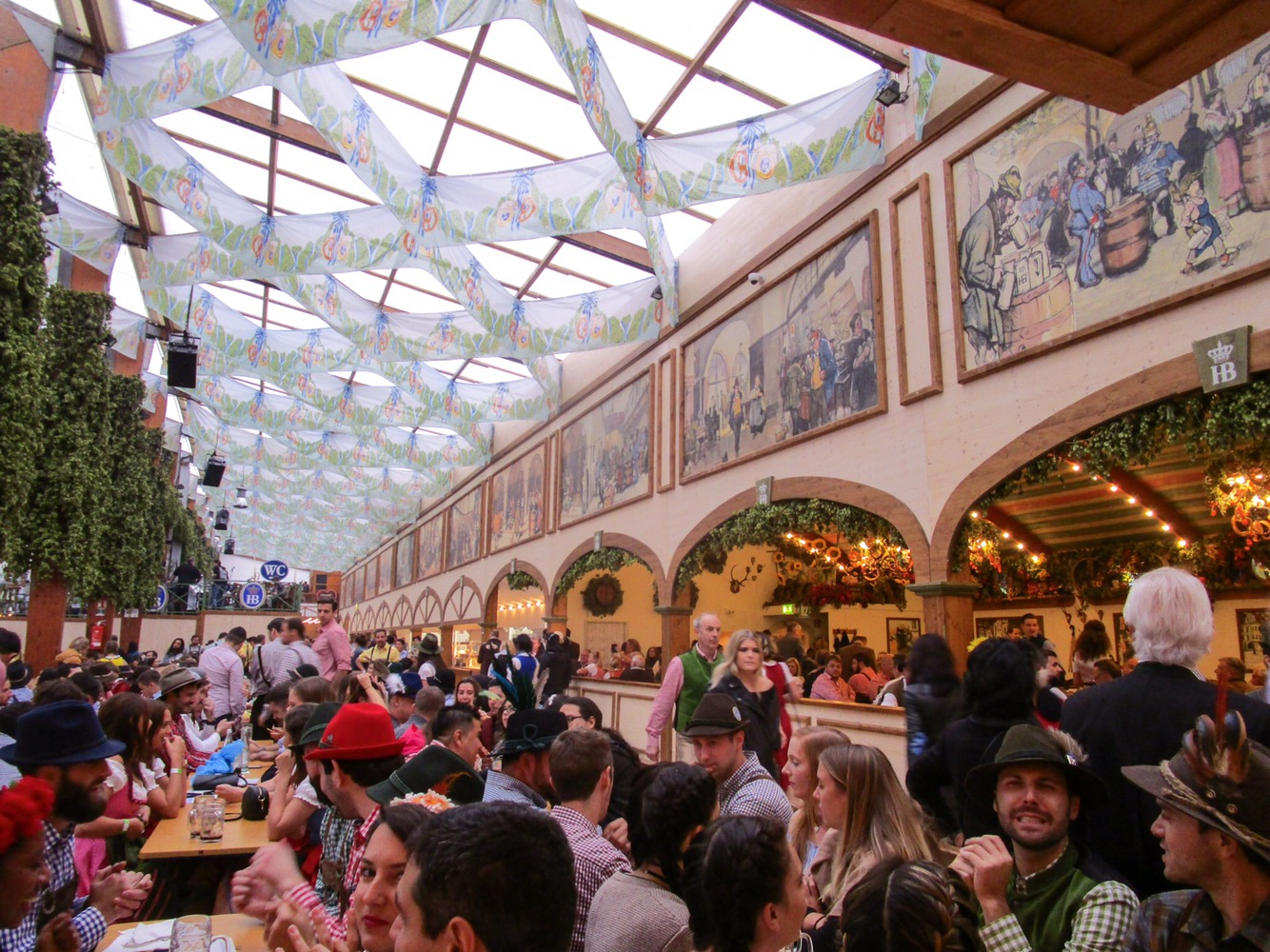 Inside the Hofbräu Festzelt beer tent at Oktoberfest, Munich