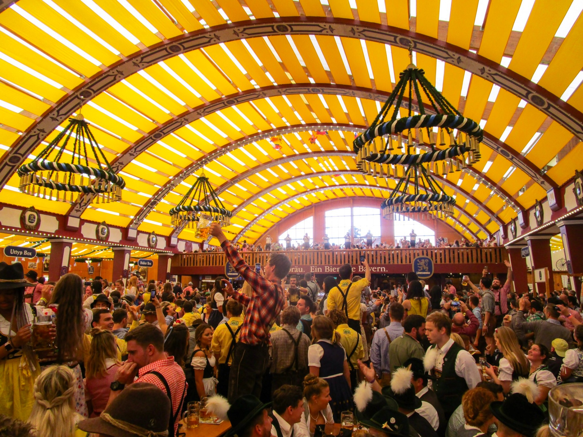 Partying in the Löwenbräu tent in Oktoberfest, Munich