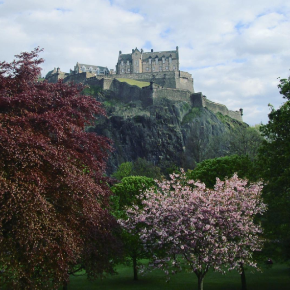 Spring at Princes Street Gardens, looking up at Edinburgh Castle, Scotland