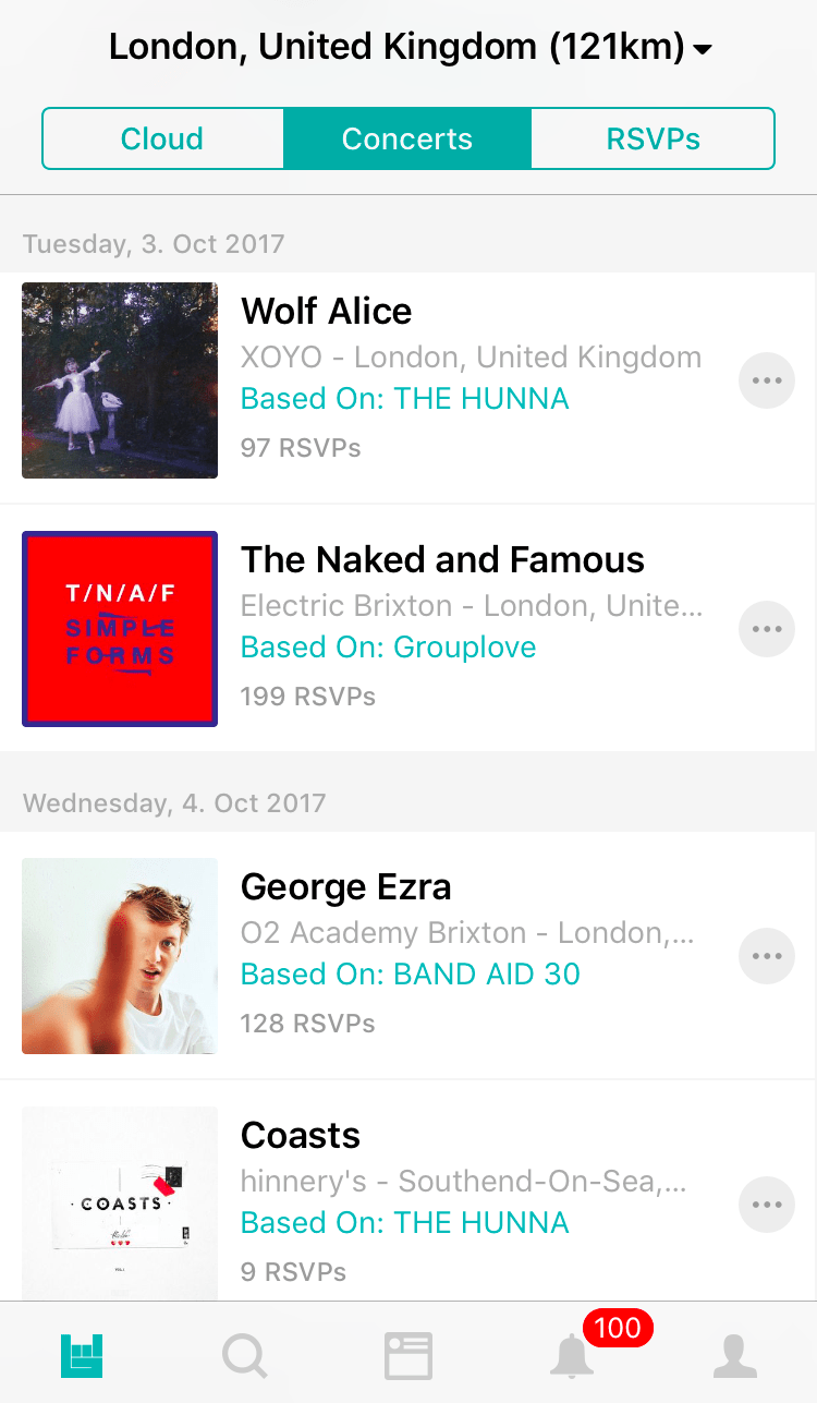 Using the Bandsintown app in London