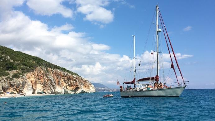 sailing boat off the coast of Albania