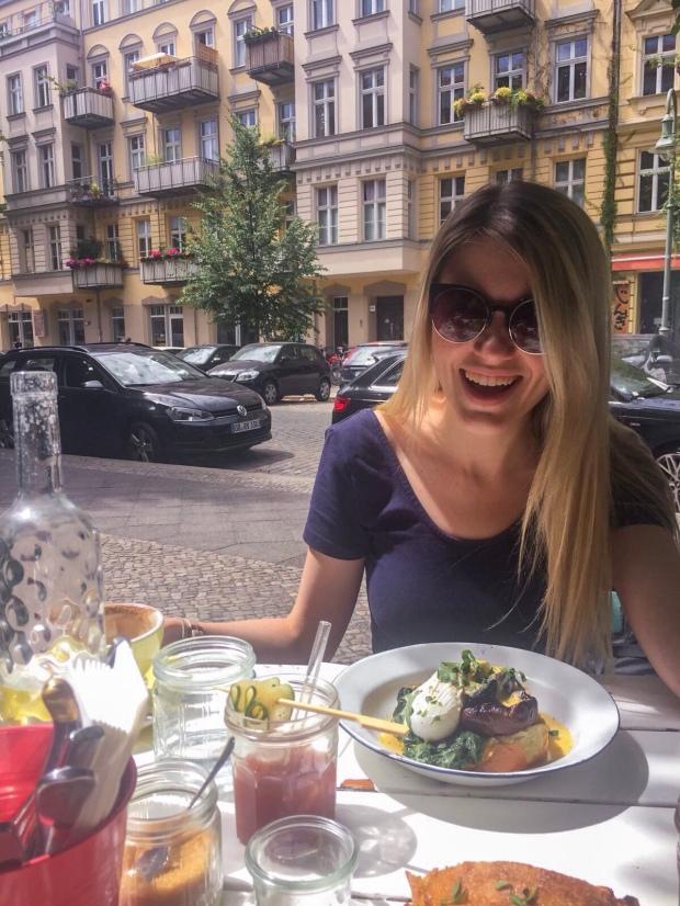 Eating vegetarian breakfast at Allan's breakfast club in Prenzlauer berg, Berlin